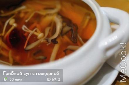 Супы из говядины с грибами рецепты